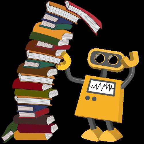 Робот с купчина от книги